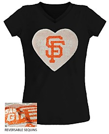 5th & Ocean Big Girls San Francisco Giants Flip Sequin T-Shirt