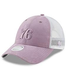 Women's Philadelphia 76ers Suede Trucker 9FORTY Snapback Cap