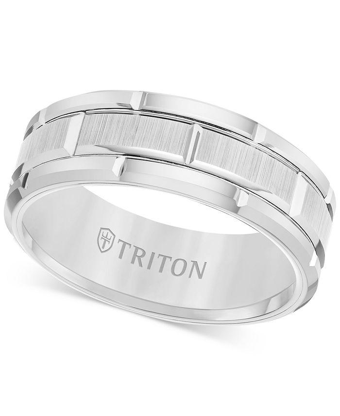 Triton - Men's Ring, 8mm Wedding Band in White or Black Tungsten