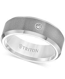 Triton Men's Tungsten Carbide Ring, Single Diamond Accent Wedding Band