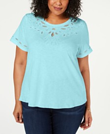 Charter Club Plus Size Cutout Short-Sleeve Top, Created for Macy's
