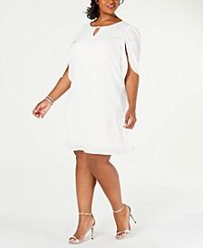 Plus Size Embellished Split-Sleeve Shift Dress