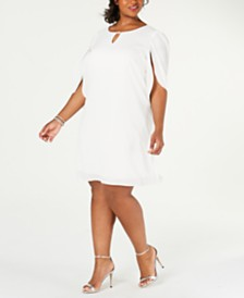 Connected Plus Size Embellished Split-Sleeve Shift Dress