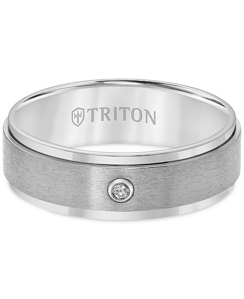 Triton Wedding Band Titanium 7mm: Triton Men's Titanium Ring, 7mm Diamond Accent Wedding