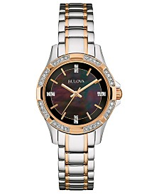 Bulova Women's Crystal Two-Tone Stainless Steel Bracelet Watch 30mm, A Macy's Exclusive