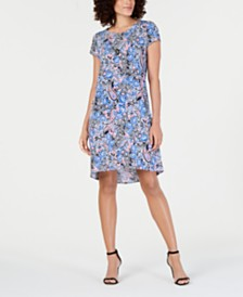 NY Collection Petite Paisley-Print Dress & Necklace