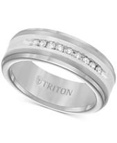 f5a058fa2 Triton Men's Diamond Wedding Band in Tungsten Carbide (1/4 ct. t.w.)