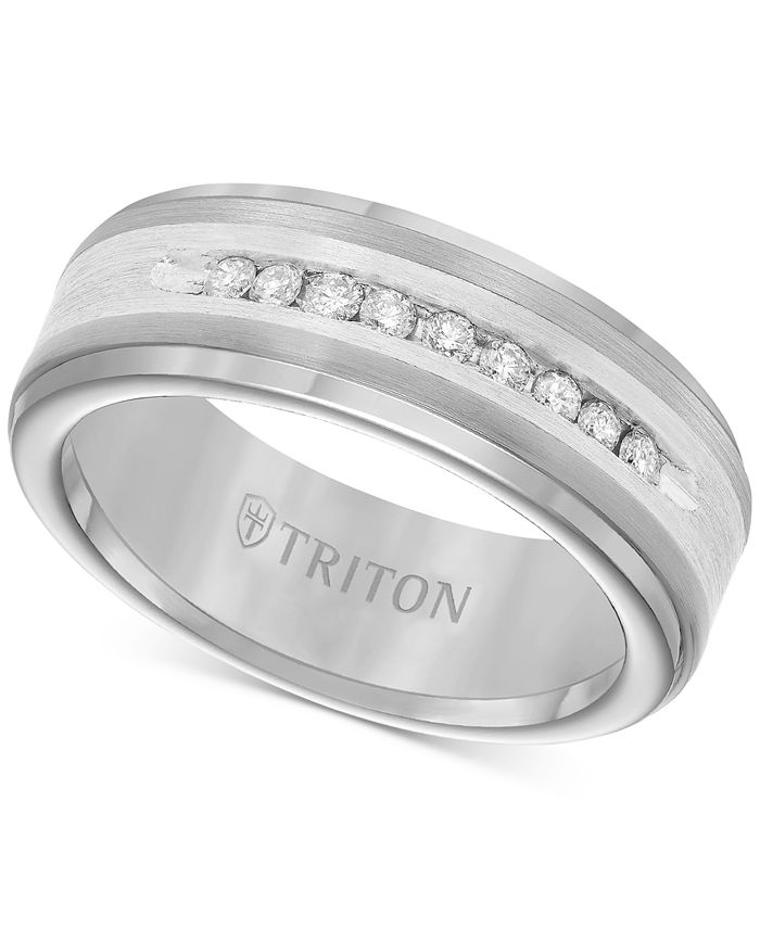 Triton - Men's Tungsten Carbide and Diamond Wedding Band Ring in Sterling Silver (1/4 ct. t.w.)