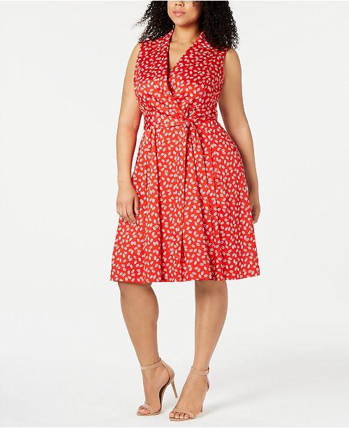 Anne Klein Plus Size Faux-Wrap Dress & Reviews - Dresses - Plus ...