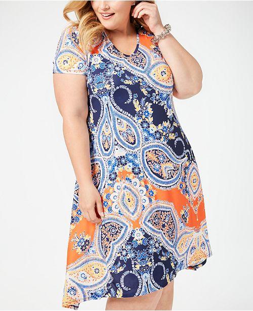 Plus Size Embellished A-Line Dress
