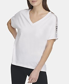 DKNY Sport Mesh-Trimmed V-Neck Top, Created for Macy's