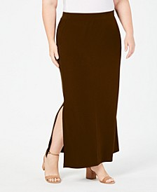 Plus Size Side-Slit Maxi Skirt, Created for Macy's