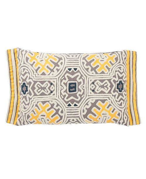"Jaipur Living Museum Ifa By Yuma Gray/Yellow Geometric Down Throw Pillow 14"" x 20"""