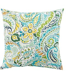 """Jaipur Living Pezzola Franco Blue/Green Floral Indoor/ Outdoor Throw Pillow 18"""""""