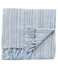 "Jaipur Living Seafarer Stripe Blue/White Throw 51"" X 67"""