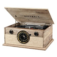 4-in-1 Cambridge Farmhouse Modern Bluetooth Turntable with FM Radio