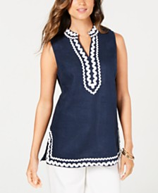 Charter Club Ric-Rac-Trim Linen Tunic, Created for Macy's