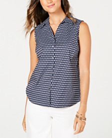 Charter Club Sleeveless Sailboat-Print Blouse, Created for Macy's
