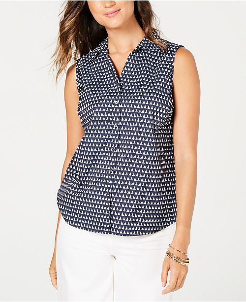 Charter Club Petite Sailboat-Print Shirt, Created for Macy's