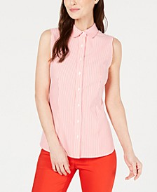 Sleeveless Seersucker Blouse