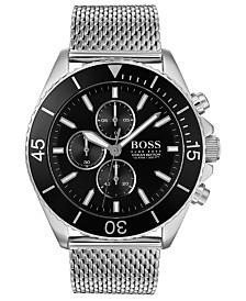 BOSS Men's Chronograph Ocean Edition Stainless Steel Mesh Bracelet Watch 46mm