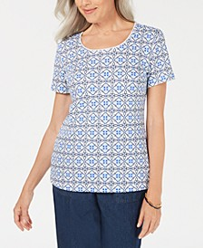 Summer Tile Scoop-Neck Top, Created for Macy's