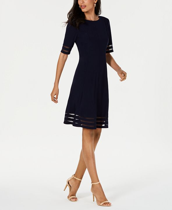 Jessica Howard Petite Illusion-Stripe Fit & Flare Dress