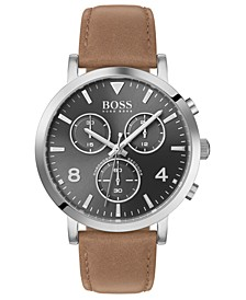 Men's Chronograph Spirit Brown Leather Strap Watch 41mm