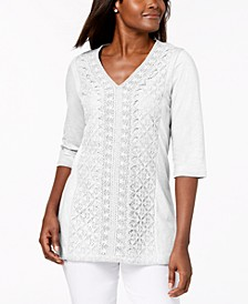 Embellished Lace-Contrast Top, Created for Macy's