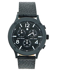 LUCKY BRAND MENS ROCKPOINT MF BLACK PEBBLED LEATHER STRAP 42mm