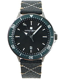 LUCKY BRAND MENS DILLON CHARCOAL LEATHER STRAP 42 mm