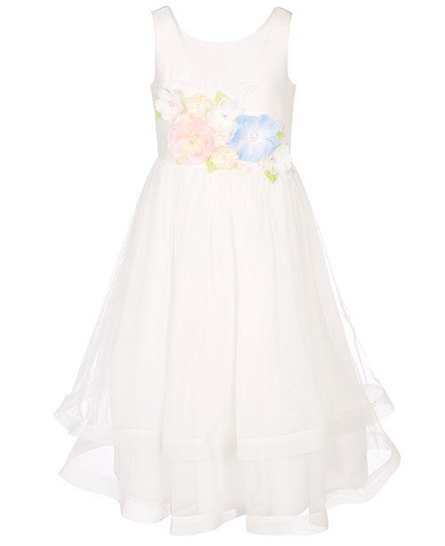 Bonnie Jean Big Girls 3D Floral Lace-Up Back Dress