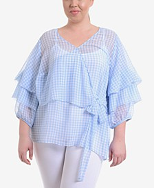 Plus Size Gingham-Print Wrap Top