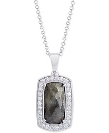 "Amethyst (3-1/5 ct. t.w.) & Cubic Zirconia 18"" Pendant Necklace in Sterling Silver (Also Available in Labradorite, Aqua Quartz and Rose Quartz)"