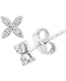 EFFY® Diamond Clover Stud Earrings (1/5 ct. t.w.) in 14k White Gold