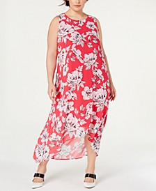 Plus Size Floral-Print High-Low Dress, Created for Macy's