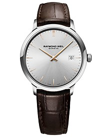 Men's Swiss Toccata Brown Leather Strap Watch 39mm