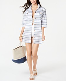 Dotti Baja Striped Cotton Cover-Up Shirt