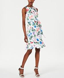 Calvin Klein Petite Floral Belted Flounce-Hem Dress
