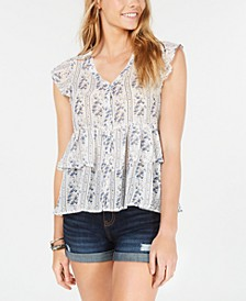 Juniors' Printed Tiered Button-Front Top