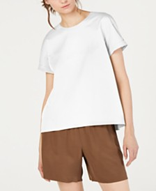 Eileen Fisher Organic Cotton Round-Neck Stretch Top