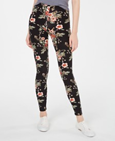 Planet Gold Juniors' Floral-Printed Brushed Jersey Leggings