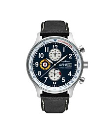 AVI-8 Men's Japanese Quartz Chronograph Hawker Hurricane Panda Edition, AV-4011-0I, Black Leather Strap Watch 42mm