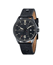 AVI-8 Men's Japanese Quartz Hawker Harrier II, AV-4003-07, Black Leather Strap Watch 45mm
