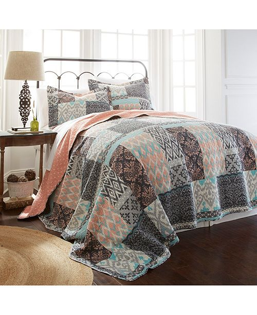 Modern Threads Sanctuary By Pct 100% Cotton 2 Pc Printed Reversible Quilt Sets Sylvia Twin