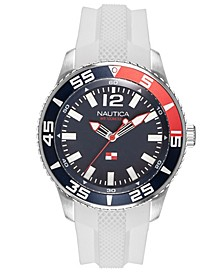 Men's NAPPBP905 Pacific Beach White/Navy Silicone Strap Watch