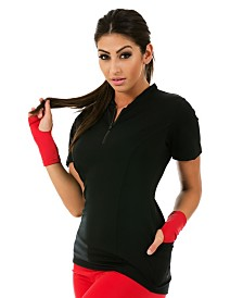 InstantFigure Short Sleeve Zip-Up Cycling Jacket with Back Pockets