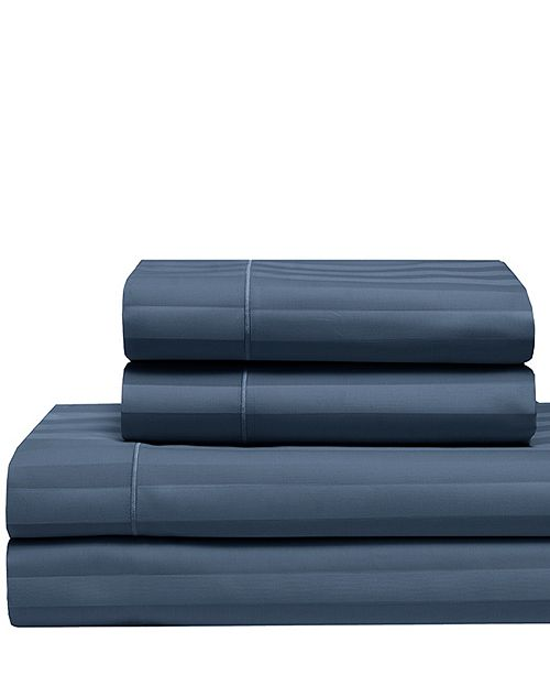 Elite Home Cooling Cotton Satin Stripe Queen Sheet Set