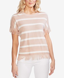 Vince Camuto Striped Fringe-Trim Sweater