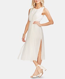 Vince Camuto Pleated Overlay Sleeveless Dress